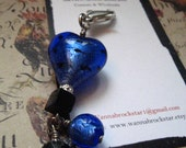 Valentines SPECIAL - Blue HEART & Black Onyx -  Zipper Pulls or Key Ring or Rear view Mirror Charm