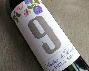 Table Number Wine Label ...Floral Birch
