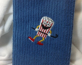 Embroidered Dancing Popcorn guy  Kitchen towel