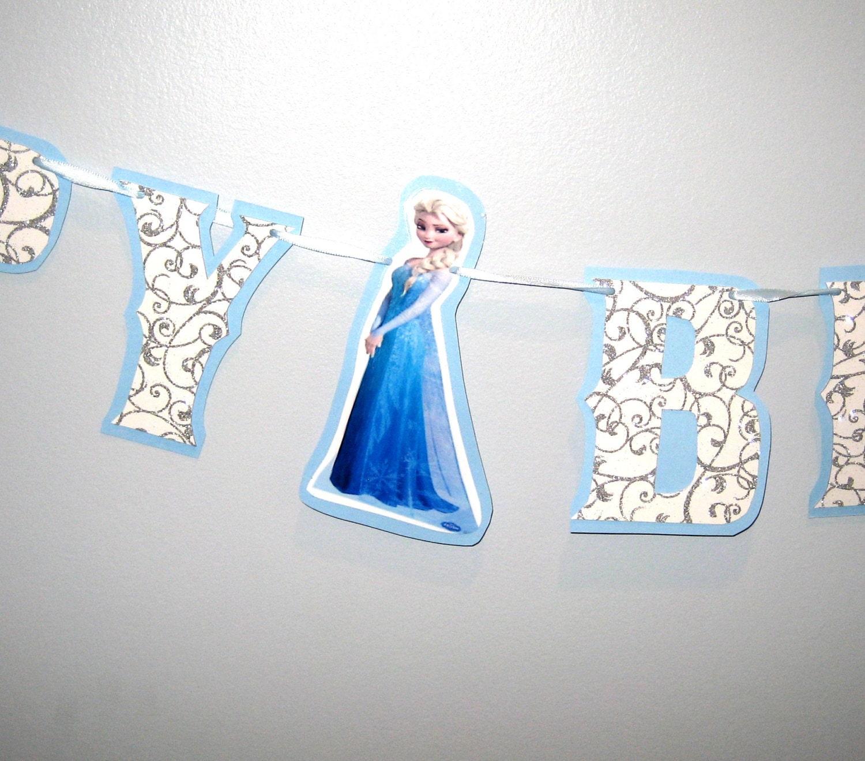 Frozen HAPPY BIRTHDAY Banner Snow Swirl Silver Glitter By