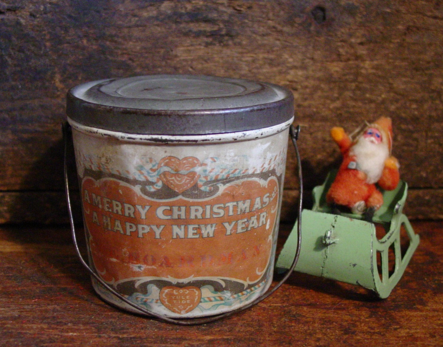 Antique tin christmas candy pail vintage tin by for Christmas tin pails