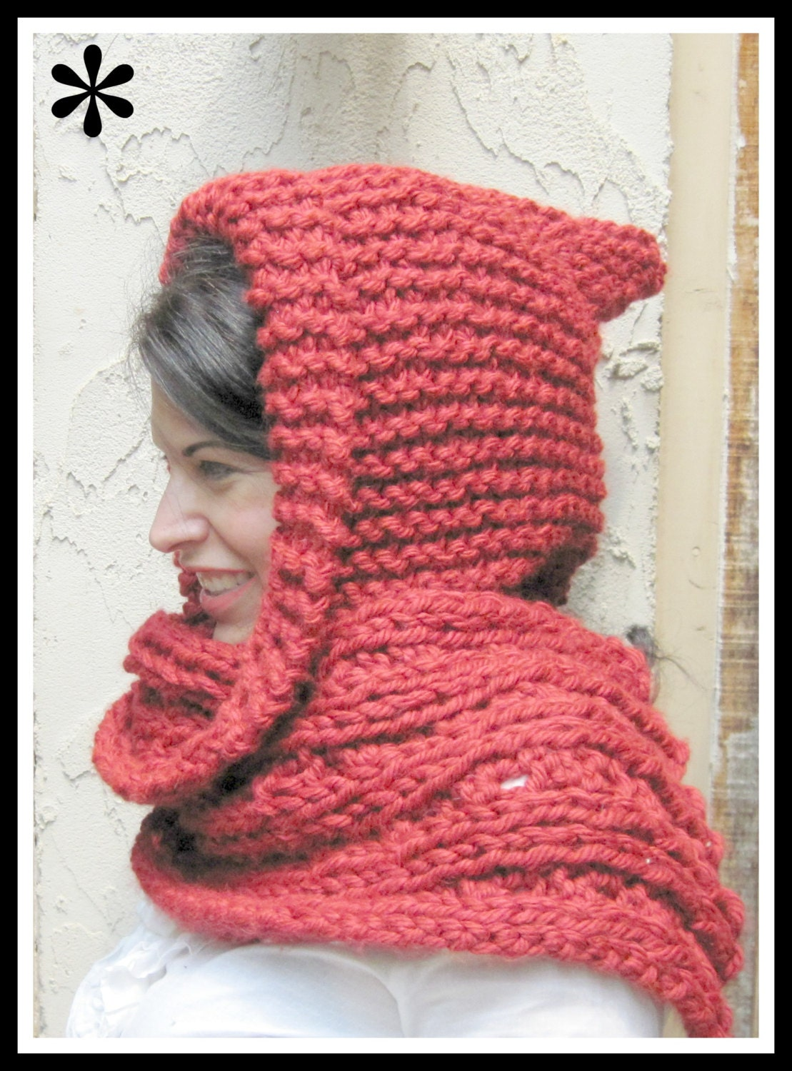 Knitting Pattern For Scarf With Bulky Yarn : Red Hooded Scarf in Bulky Yarn Knitting Pattern Adult Size