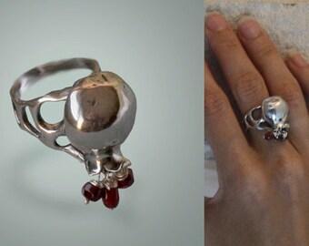 Pomegranate ring,Garnet silver women ring, 925 silver garnet ring, ring with garnets.