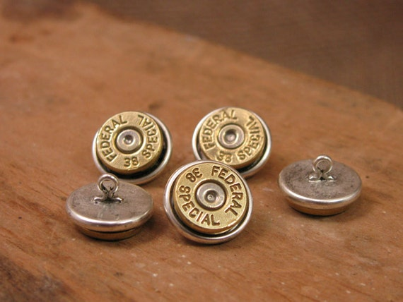 Bullet Jewelry - Button Jewelry - Bullet Casing Buttons - Set of 5 Brass Bullet Casing Shirt Buttons - Replace Your Buttons on Any Shirt