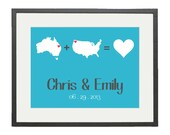 Wedding Gift Couple from different states - State or Country Map Love Custom Print