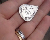 sale recycled sterling silver guitar pick . live in this moment guitar pick . love token gift for him her . stocking stuffer . ready to ship