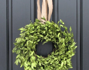 "Boxwood Wreaths - 15"" Artificial Boxwood - Boxwood Decor - Year Round Wreath - Simple and Modern - Burlap Bows"