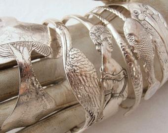 Vintage Sterling Silver Fish Bangle Bracelet