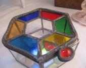 Vintage Staind Glass Mirror Bottom Box Hippie Bohemian 70's Cool