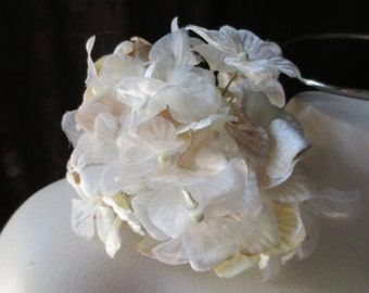 Ivory & Beige Blush Silk Millinery Hydrangea for Bridal, Boutonnieres, Millinery