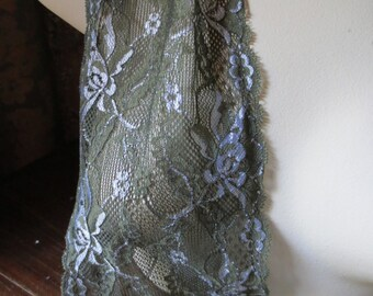 2 yds. Stretch Lace in Pine Green,  Silver Flowers FREE TUTORIAL for Headbands, Lingerie  STR 5003