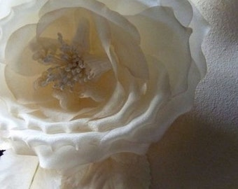 Silk Rose in Ivory Tea for Millinery, Bridal Sashes, Costume Design MF 107
