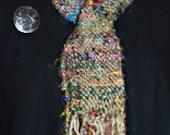 Handwoven Women's Scarf. Recycled Sari Silk & Sage Uruguayan Wool.