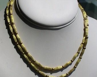 Vintage Corrugated Brass Bead Necklace