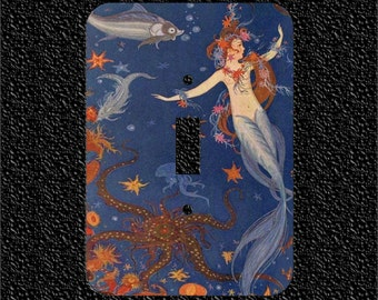Vintage Topless Mermaid with Starfish and Octopus Light Switch Plate Covers Toggle/Rocker/Outlet