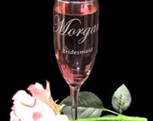 8 Hen Party Gifts Personalized Champagne Glasses, Bridesmaid Gifts
