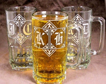 2 GIANT 1 Liter Beer Mugs, Personalized Groomsmen Gifts For Men Etched Glass Beer Steins