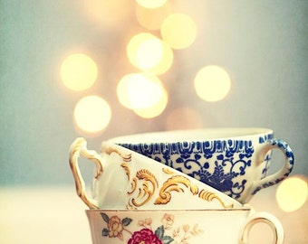 Tea Cup Photography - abstract Kitchen decor cafe antique vintage blue pastel white bokeh decor coffee gold yellow cream