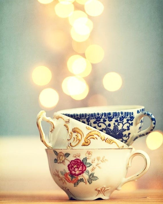 Old Fashioned Tea Cup Blue