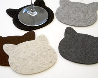 Cats Coasters in 3MM Thick Virgin Merino Wool Felt Eco-friendly Pet Lovers Gift Crazy Cat Lady Fabric Drink Coaster Set