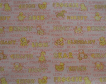 One Yard Debbie Mumm Yellow Baby Animals with Words on a Pink Background