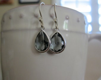 Charcoal  Drop Earrings with Sterling Silver