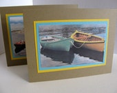 INVENTORY CLEARANCE Set of 3 Kraft Upcycled Cards for Men. Boats. Seascape. Golden Yellow. Aqua. Emerald. Birthday. Anniversary. For Him