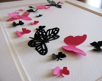 INVENTORY CLEARANCE Black & Fuschia 3D Butterfly Art / French Inspired Butterfly Wall Art / 8x10 inches / Ready to Ship