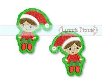 Christmas ELF Felt Clippies  4x4 SVG  INSTANT  Machine Embroidery Design