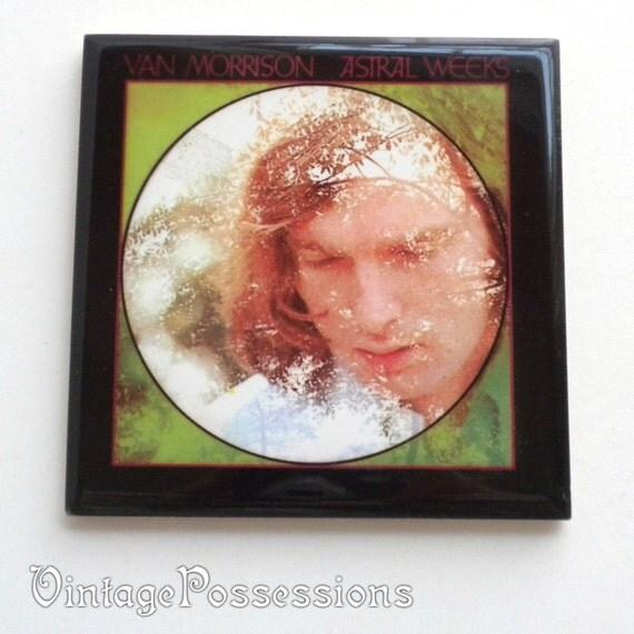 Vintage Square Tile Coaster - Van Morrison Astral Weeks Album Art - Cork Backed