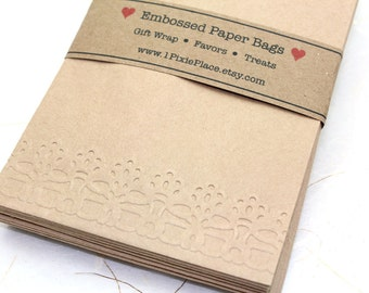 Lace Embossed Kraft Paper Bags - Favor bags, Wedding favors, treat bags - SMALL