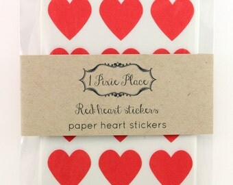 72 Mini Red heart stickers - labels, stationery, paper goods