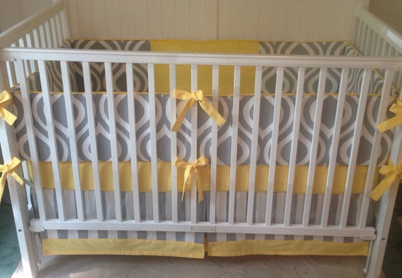 Crib Bedding Set Gray White Yellow By Butterbeansboutique
