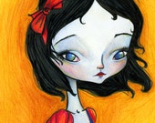 "ACEO ATC Artists Trading Card - ""Snow White"" - Little Girl Sad Eyed Child - Fairy tale princess - Mini Giclee Fine Art Print 2.5x3.5"""