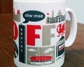 Cardiff Wales typographic mug