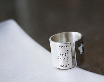 Rock Star Ring with Custom Personalized Words or Lyrics- Poem Ring, Words Ring