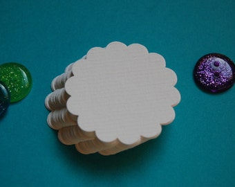 "Ivory Scalloped Circle Punch Cut Outs -- 1 3/4""  -- Set of 30 -- Ready to Ship"