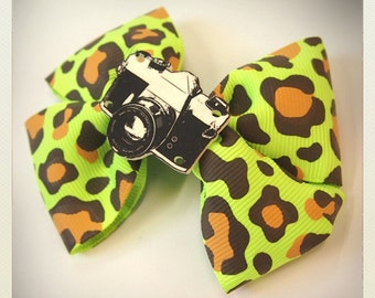 Old School Pin Up-style green animal print retro camera hair clip