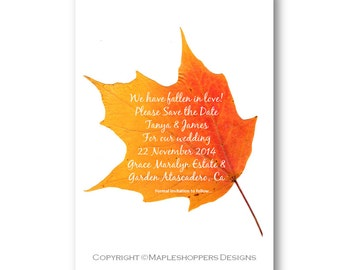 Personalized Save the Date Announcement - Yellow Maple Leaf on 4x6 card or Cut-Out - Print Your Own DIY - PDF Format - Fall Wedding