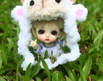 Little sheep crochet hat for lati white / pukipuki / felix brownie doll