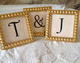 Three Frames Bridal Table Display Gold 3x3 Inch Framed Ampersand and Two Letters / Numbers for Wedding Decor Also Available in Silver Styles