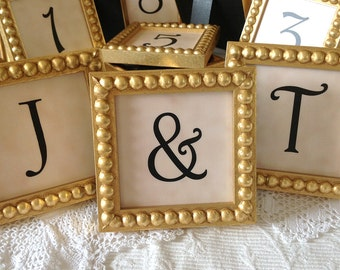 One Sample Bridal Table Display Gold 3x3 Inch Framed Ampersand/Letters / Numbers for Wedding Decor Also Available in Silver Styles