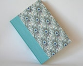 Address book large - aqua with peacock feathers - 6x8.5in  15x22cm - Ready to ship