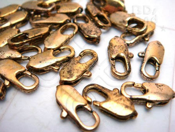 bulk -10% / B116GA / 60 Pc / 12 x 4.5 mm - Antique Gold Plated Flat Elongated Lobster Clasp / Hook Findings