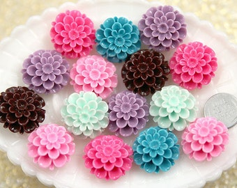 Resin Flower Cabochons - 25mm Cute Dahlia or Peony Flower Flatback Resin Cabochons - 6 pc set