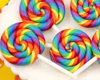 80mm Huge Colorful Rainbow Swirl Lollipop Flatback Clay or Resin Cabochons - 2 pc set