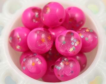 24mm Fuchsia Pink Galaxy Flower Confetti Stars Crystal Ball Resin Beads - 6 pc set