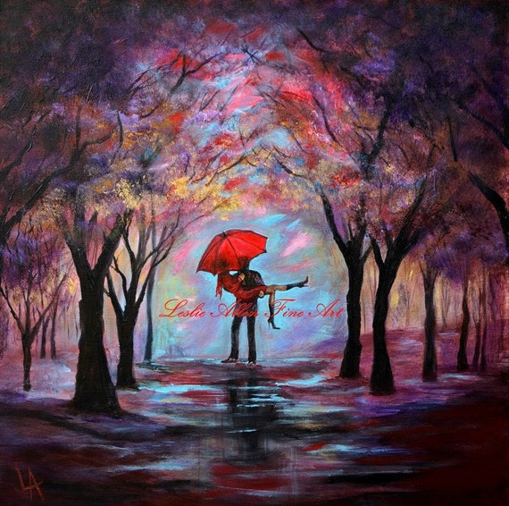 Couple Original Abstract Painting COUPLE LOVE UMBRELLA