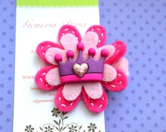 Pink and Purple Princess Crown Felt Flower Clip