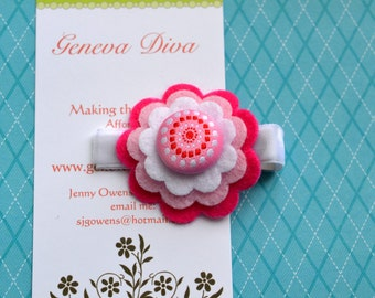 Pink Swirly Dots Stacked Felt Flower Clip